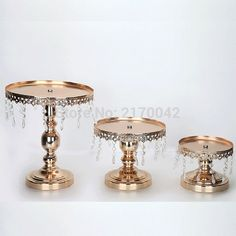 3 piece/set Gold/White Metal Fruit Trays Plate Dishes Cake Stand With Crystal Pendant Wedding Party Event Supplies