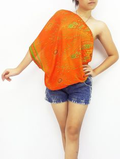 Women Clothing Printed Rayon Open Shoulder Blouses  Bohemian Shirt Sexy Clothes Peacock Orange (TP29)