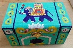 Jewelry Box Indian style  Elephant and Lotus Design by Muktangan, $45.00