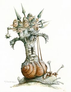When you move at a snail's pace, you never know what piggyback personalities will come along for the ride. - Pascal Moguerou illustration