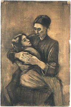 Vincent van Gogh Woman with a Child on Her Lap Drawing