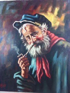Unframed Canvas Art Oil Painting Old Sailor Man Vintage Signed 16 x 20 #Realism