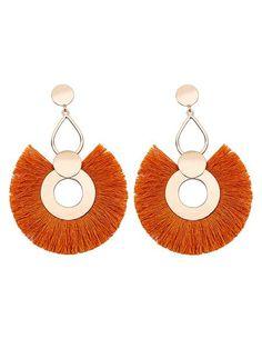 cf869e823 Exaggerated Big Circle Tassel Earrings Ring Earrings, Tassel Earrings,  Crochet Earrings, Big Rings