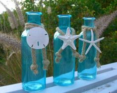 Coastal Cottage Tiffany Blue Glass Bottles-SEA LIFE TRIO