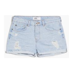 MANGO Light Wash Denim Short ($50) ❤ liked on Polyvore featuring shorts, ripped jean shorts, distressed jean shorts, embellished shorts, ripped shorts and torn shorts