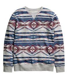 Gray melange sweatshirt with printed geometric pattern. | H&M For Men