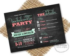 Bachelorette Party Night/Weekend Itinerary Modern Invitations (Bachelorette Schedule/Bachelorette Weekend Invitations) -- Digital Printable