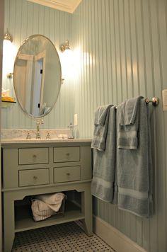 Delightful Floor To Ceiling Beadboard Decorating Ideas in Bathroom Beach design ideas with Delightful arabescato tile basketweave tile bathroom bathroom flooring beadboard beadboard walls blue bathroom Downstairs Bathroom, Small Bathroom, Bathroom Ideas, Neutral Bathroom, Bathroom Wall, Bathroom Inspiration, Bead Board Bathroom, Guys Bathroom, Bathroom Plans