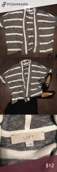 Short Sleeve LightWeight from Loft. Short sleeve light weight sweater from Loft. The color is interwoven black and white, also solid white stripes gently used. LOFT Sweaters Cardigans