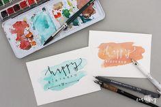 DIY Geburtstagskarte mit Happy Birthday Schriftzug - handgeschriebene Karte - Handlettering-Anleitung mit Video und Materialempfehlung auf eineckig.com