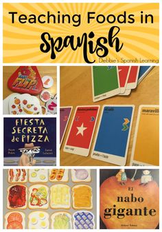 Affiliate links used. Here is a collection of ideas to teach your students vocabulary related to foods: games, books, and more! Spanish Lessons For Kids, Preschool Spanish, Spanish Projects, Spanish Basics, Elementary Spanish, Spanish Activities, Learning Activities, Spanish Games For Kids, Senior Activities