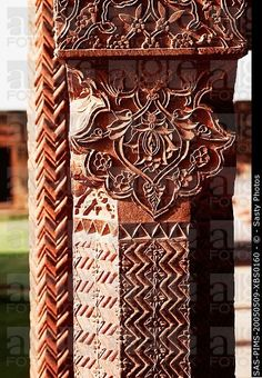 Architectural detail of a column in a palace, Fatehpur Sikri, Agra, Uttar Pradesh, India Indian Temple Architecture, Mughal Architecture, Historical Architecture, Art And Architecture, Architecture Details, Superhero Pop Art, India Street, Indian Heritage, Indian Photography