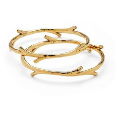 DIANE VON FURSTENBERG Twig Bangle Gold Bracelet Set ($98) ❤ liked on Polyvore featuring jewelry, bracelets, gold plated, gold bracelet bangle, hinged bangle, yellow gold bangle, gold bangles jewelry and gold bangles