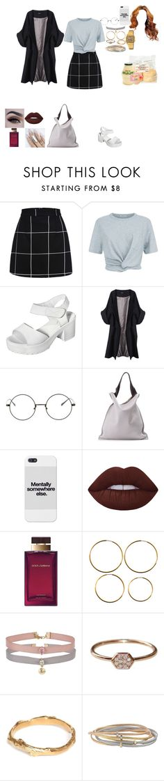 """""""Aa"""" by caylaosuigwe ❤ liked on Polyvore featuring WithChic, T By Alexander Wang, yeswalker, Merci Me London, Jil Sander, Lime Crime, Dolce&Gabbana, Lucky Star Jewels, Miss Selfridge and Chupi"""