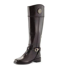 Teresa Logo Riding Boot, Black by Tory Burch at Neiman Marcus.