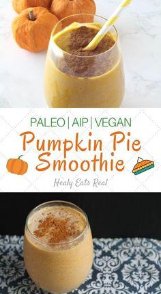 Easy Pumpkin Smoothie (Paleo, Vegan, AIP)- This easy pumpkin smoothie has a smooth creamy texture and sweet spiced flavor. It's the perfect healthy paleo, aip and vegan fall breakfast! Pumpkin Pie Smoothie, Vegan Pumpkin Pie, Pumpkin Spice Syrup, Apple Smoothies, Breakfast Smoothies, Fall Breakfast, Paleo Vegan, Blackberry Smoothie, Food Journal