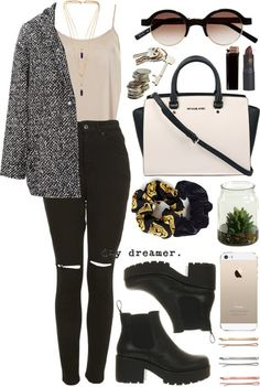 Untitled #94 by lauraamarshall featuring a yucca plantDorothy Perkins satin cami / Pull&Bear coat, $64 / The Ragged Priest black jeans, $96 / Vagabond beatle boots, $145 / MICHAEL Michael Kors satchel handbag, $505 / Isabel Marant gold necklace / Marni sunglasses / Madewell hair accessory / CB2accessory / Leopard hair accessory, $6.38 / Lipstick Queen lips makeup / Yucca plant / Velvet Scrunchie, $7.18