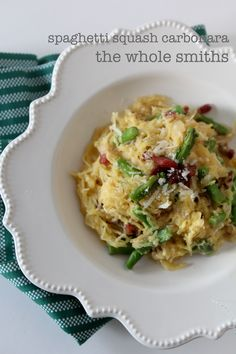 Spaghetti Squash Carbonara from the Whole Smiths. Gluten and grain free, paleo friendly and Whole30 compliant if you leave the sprinkle of cheese off on the end. A must have!