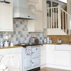 Small blue & white country kitchen
