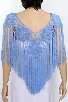 Blue Bridal Shawl Crocheted Shawl Wedding Wrap Bridal