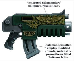 Master-crafted Ultima Pattern Bolter, Drake's Roar, utilised by the Salamanders Chapter.