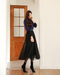 Lace Maxi, Lace Skirt, Black Company, Check Printing, Korean Women, Wearing Black, Fashion Boutique, Knitwear, Ballet Skirt