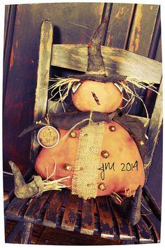 Primitive Pumpkin Doll by YankeeRidgePrimitive on Etsy, $38.00