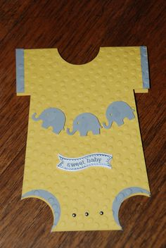 Gender 'unknown' card  Stampin Up Card stock - Daffodil Delight& Smokey Slate Sweet Baby stamp from Itty Bitty Banners, silver embossed Mini silver brads Elephant punch - Martha Stewart brand