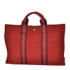 Hermes Burgundy Cotton Canvas Striped Tote | From a collection of rare vintage tote bags at https://www.1stdibs.com/fashion/handbags-purses-bags/tote-bags/