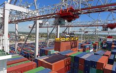 The breathtaking view from one of the brand new super-post panamax cranes over the hundreds of containers in Southampton Docks