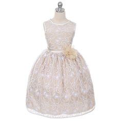 50.00$  Watch now - http://vivlx.justgood.pw/vig/item.php?t=bn9yqmu23756 - Ivory Champagne Satin Floral Lace Flower Girl Dress Birthday Wedding Bridesmaid 50.00$