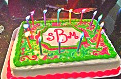 Lilly Pulitzer monogrammed cake