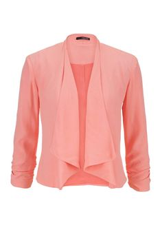peach drape front blazer with cinched sleeves
