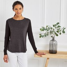 Colourblock Curved Hem Jumper - Cloud Marl The White Company, Sports Luxe, Timeless Fashion, Jumper, Cloud, Turtle Neck, Sleeves, Style, Swag