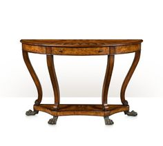 "A burl parquetry inlaid demi lune console table, 5305-056, W 56"" x D 18"" x H 36"", Style: Regency, Materials: Poplar Burl, Mahogany, Laurel Burl"