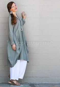 ET'LOIS USA Linen PHOENIX DRESS Long Artsy Panel Balloon Tunic XS S M L XL WHITE