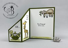 Stampin& Up! Back On Your Feet fun fold / fancy fold card by Lisa Ann Bernar. - Stampin& Up! Back On Your Feet fun fold / fancy fold card by Lisa Ann Bernard of Queen B Creat - Fancy Fold Cards, Folded Cards, Karten Diy, Stamping Up Cards, Get Well Cards, Animal Cards, Card Tutorials, Sympathy Cards, Paper Cards