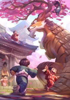 We want to go to the Sakura Dragon Festival right now! Awesome #art by Jourdan Tuffan