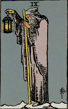 The Hermit Major Arcana Tarot card. The Tarot Hermit card meaning in a nutshell: The lesson and reward, but also misfortune, of solitude. Tarot Gratis, Major Arcana Cards, Tarot Major Arcana, Carl Jung, Tarot Rider Waite, Tarot Waite, The Hermit Tarot, Tarot Significado, Romantic Gestures