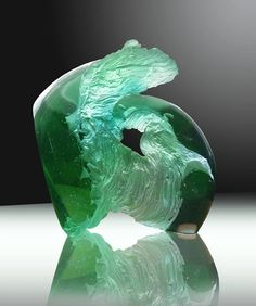 FRAGMENT from FOREST, kiln casting uranium glass,30x34x12cm,2018 by Petr Stacho