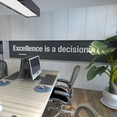 Office Walls, Office Wall Art, Office Decor, Office Ideas, Excellence Quotes, 3d Interior Design, Business Motivational Quotes, Office Suite, Make Business