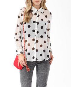 Jumbo Polka Dot Print Shirt | FOREVER21 - 2000037781