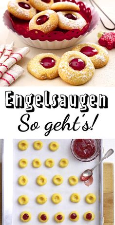 Angel eyes - the classic recipe - Engelsaugen – das klassische Rezept Mhhhmmm! Simply the best cookies for Christmas … Easy Cookie Recipes, Cake Recipes, Dessert Recipes, Dessert Blog, Chocolate Donuts, Pumpkin Spice Cupcakes, Food Cakes, Cake Cookies, Easy Meals