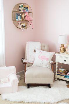 Baby Adair's nursery @potterybarnkids #flamingo #pink #flamingo #nursery #babygirl #gold #diy #pineapple