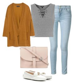 """""""Untitled #2097"""" by caffeinatedfashionista ❤ liked on Polyvore featuring Frame Denim, Topshop, Zara, Tod's and M.N.G"""