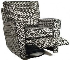 Monaco Nursery Recliner glides, has a 360 swivel, and reclines! http://www.jackandjillfurniture.com/Monaco-Nursery-Recliner-Little-Castle-_p_161.html