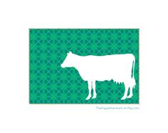 Cow Silhouette Art Print Farm Animal  Horse by TheArgyleAardvark, $11.00