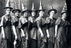 A picture of women in witch costumes in 1910.