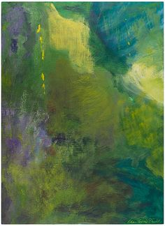 "Ellen Levine Dodd A Green New World casein, mixed media on cradled wood panel 12"" x 16"" Sausalito, California"