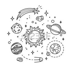 Sun: Hand drawn solar system with sun, planets, asteroids and other outer space objects. Cute and decorative doodle style line art.